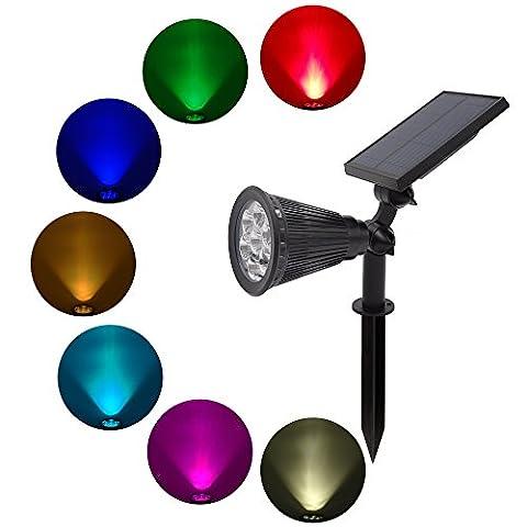 Projecteurs solaires - 7 couleurs changent les lumières solaires - Lumières extérieures pour la cour Patio jardin pelouse - Paysage mur Lumière Sécurité