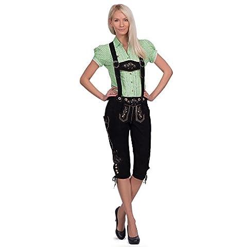 Gaudi-Leathers Damen Trachten Lederhose Lova Kniebund mit Trägern in Schwarz (Schwarz 050), W37 (Herstellergröße: 42)