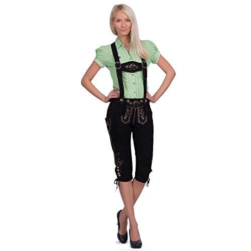 Gaudi-Leathers Damen Trachten Lederhose Lova Kniebund mit Trägern in Schwarz (Schwarz 050), W40 (Herstellergröße: 46)