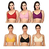 XCare Women Cotton Mix Seemless Wirefree Push Up Bra (Pack of 6)