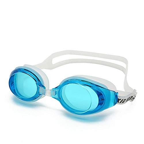 Dumcuw Schwimmbrille, offenes Wasser, kein Auslaufen, Anti-Beschlag, UV-Schutz, weiche Silikon-Nasenbrücke, Schwimmbrille für Männer und Frauen hellblau