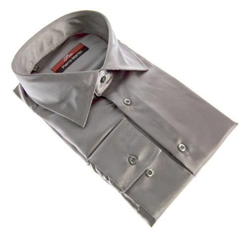 Camicia da uomo brillante slim fit aderente a maniche lunghe nero bianco blu grigio rosa oro giallo argento turchese beige marrone ciano viola violetto verde Grigio
