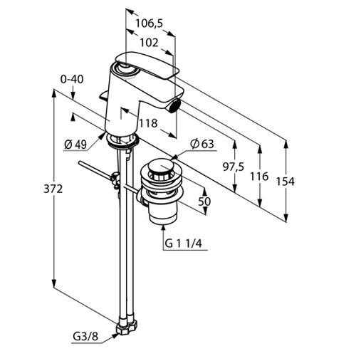Kludi Sitzwaschbecken Einhebelmischer Balance mit Garn, Eco-Luftsprudler M24x1Z, verchromt, 522160575
