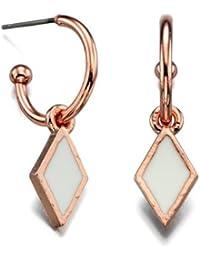 9ae8bfea1 Statement White & Rose Gold Unusual Hooped Dangle Earrings…