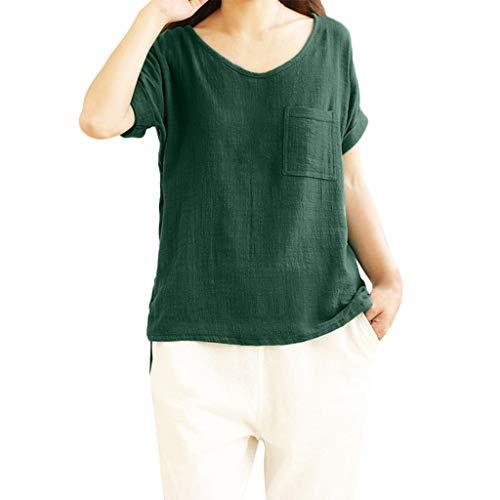 iHENGH Karnevalsaktion Damen Top Bluse Bequem Lässig Mode T-Shirt Frühling Sommer Blusen Frauen Kurzarm Tasche Baumwolle und Leinen T-Shirts Top Bluse(Grün, ()