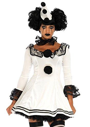Leg Avenue Pierrot Clown Kostüm, weiß, schwarz , Größe: Small (EUR 36/38)