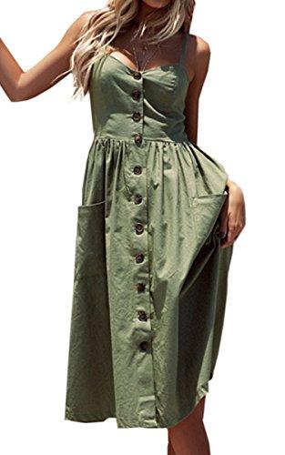 Angashion Damen V Ausschnitt Spaghetti Buegel Blumen Sommerkleid Elegant Vintage Cocktailkleid Kleider 0913 Grün L