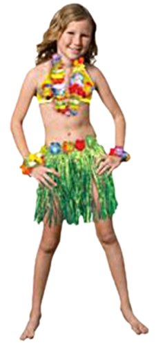 erdbeerloft - Kinder Karneval Hawaii Kostüm Bastrock Oberteil , 146-158, Grün (Mädchen Hawaii Kostüme Für)