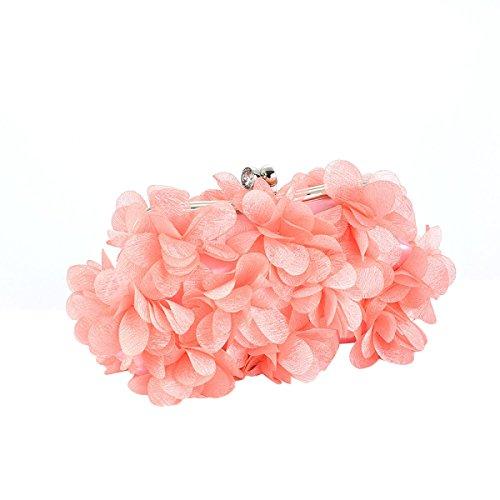 Sacchetto Di Sera Del Sacchetto Di Spalla Del Sacchetto Di Fiore Tridimensionale Di Colore Solido,White Pink