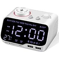 Chulovs Digital Alarm Clock Radio Bluetooth Speaker,Dimmer Dual Alarm,Snooze Sleep Timer with FM Radio, 2 USB Charging Ports, Battery Backup,Thermometer,Adjustable Volume Clock for Bedroom (White1)