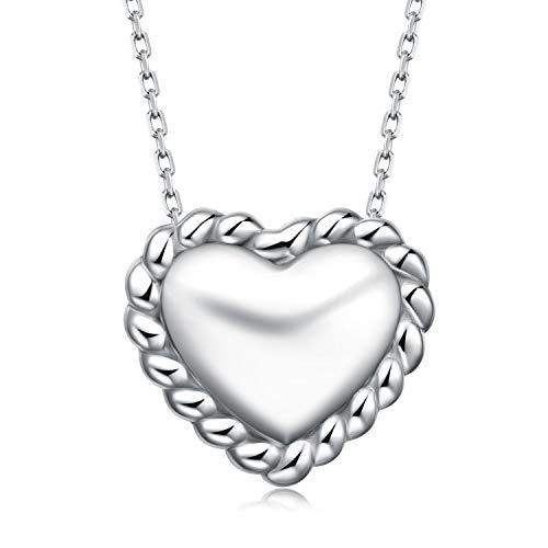 BlingGem Noeud Celtique Poli Miroir Pendentif Cœur Collier pour Femme en Or Blanc Plaqué Argent 925/1000 Chaîne Réglable 45cm