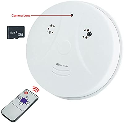 TEKMAGIC 8GB HD Cámara Espía Detector de Humo Interior Movimiento Activado Grabadora de Vídeo DV Videocámara Soporte de Grabación de Voz