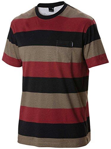 Herren T-Shirt Nixon Hijack T-Shirt dark sage stripe