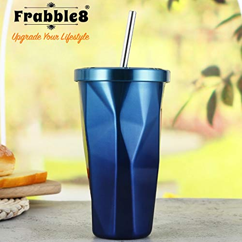 Frabble8 Double Wall 480ML Vacuum Insulated Travel Stainless Steel Flask Tumbler with Steel Straw and Lid Hot and Cold Thermos Sipper (Blue)