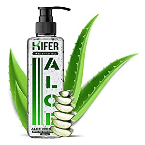 Kifer Pure , Organic & Natural Non-Toxic Aloe Vera Fresh Soothing Gel for Acne, Scars, Glowing & Radiant Skin Treatment, Enriched with Vitamin E, 200 ml