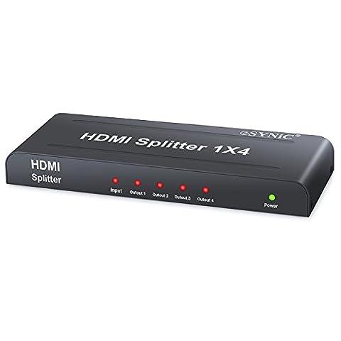 HDMI Splitter 1 auf 4 1080P 3D HDMI Verteiler 1x4 Verteilerkästen mit EU Netzteil 1 Eingang und 4 Ausgängen für HDTV PC SKY Box PS3 PS4 Xbox STB Blu-ray DVD - Schwarz