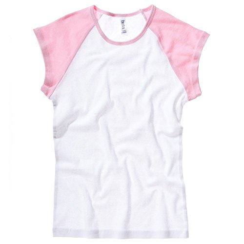 Bella+Canvas Baby rib cap sleeve contrast raglan t-shirt White / Pink S (College Cap Womens Sleeve T-shirt)