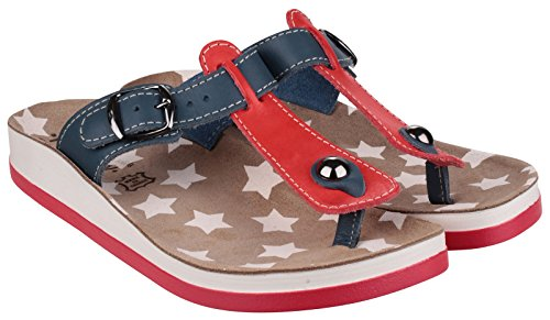 Fantasy Ladies Naxos Leather Metal Buckle Flip Flop Sandal Red Red/Blue