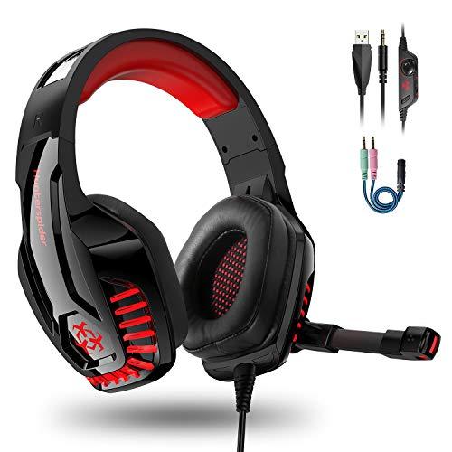 IGROME PS4 Headset, PC Gaming Kopfhörer auch für Xbox One & Nintendo Switch & Laptop, Bass Surround, mit Rauschunterdrückungsmikrofon, LED Licht, 3,5-mm Jack (mit 2 in 1-Adapter) (Rot)