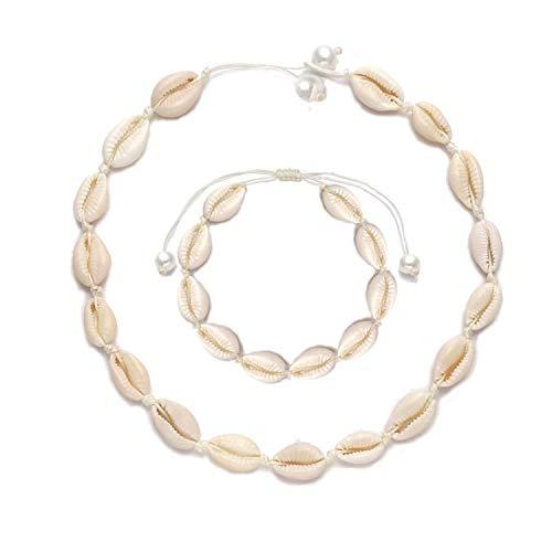 Jangostor Muschel Halskette für Frauen Muschel Halskette Anweisung Einstellbare Puka Muschel Halskette Armbänder Set Hawaiian Schmuck