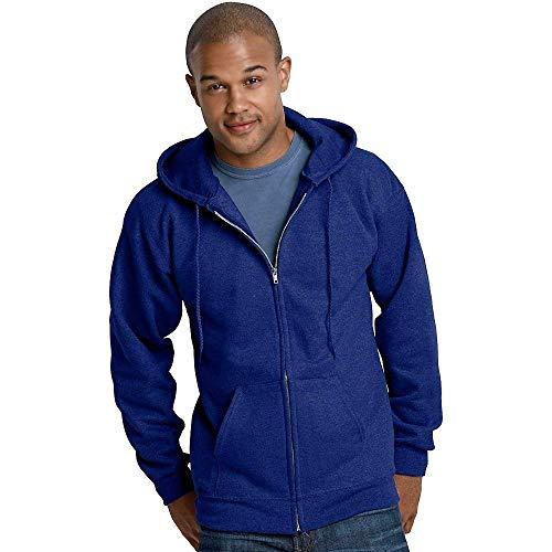Hanes Ultimate Cotton Full-Zip Fleece Hood 10 Oz Sweatshirt, Deep Royal, S -