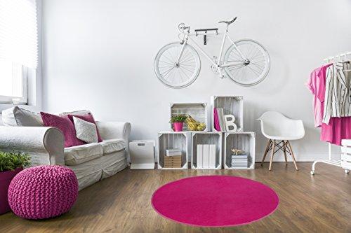 misento Teppich Velours Kurzflorteppich weich Wohnzimmer Schlafzimmer Flur Essbereich 100 cm rund, pink