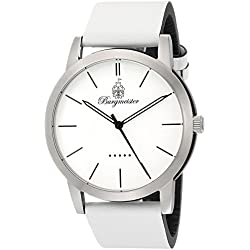Burgmeister Ibiza Men's Quartz Watch with White Dial Analogue Display and White Leather Strap BM523-186-1