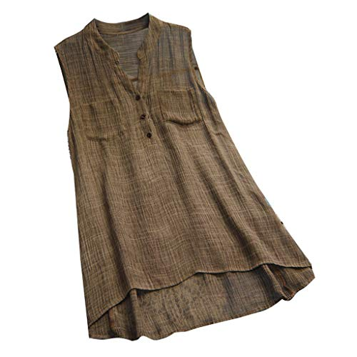 Lazzboy Frauen Lose V-Ausschnitt Leinen Solid Button Sleeveless Freizeithemd Bluse Tops Damenhemden Rüschen Lässige Tunika Einfarbig Damen Kariert Reißverschluss Hemd T-Shirt(Braun,L)