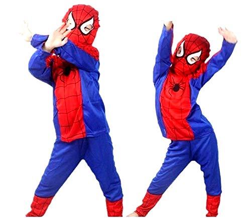 Costume Uomo Ragno - Spiderman - Travestimenti per bambini - Halloween - Carnevale - Super eroe - Rosso - Bambino - Taglia L - 7-8 anni - Idea regalo originale