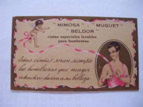 antigua-tarjeta-old-card-mimosa-muguet-beldor-cintas-especiales-lavables-para-hombreras