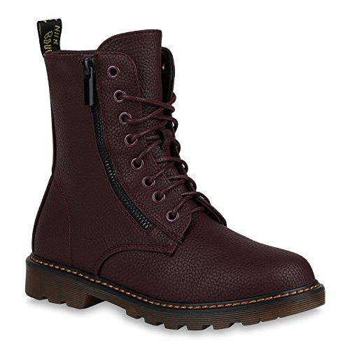 Gefütterte Damen Worker Boots Zipper Outdoor Stiefeletten 148371 Dunkelrot Zipper 40 Flandell