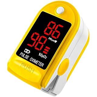 AVAX AV-50DL - Fingerpulsoximeter (Finger Pulse Oximeter) -%SpO2 (Sauerstoffsättigung des Blutes) & Herzfrequenzmesser mit LED-Anzeige und Zubehör - GELB