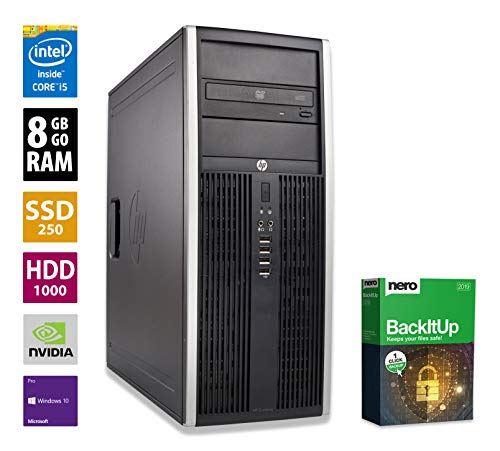 PC Gamer Multimédia Unité Centrale HP Elite 8200CMT - Nvidia Geforce GTX 1050 -Core i5-2400@3,1GHz-8 Go RAM - 1To HDD - 250Go SSD - Lecteur DVD - Win 10 Pro (Reconditionné)