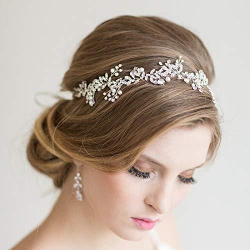SWEETV Handgefertigt Hochzeit Stirnbänder mit Perle Strass - Bohemien Kopfschmuck, Silber (Hochzeits-tiara Perlen Mit)