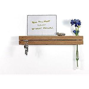 Schlüsselleiste Eiche mit Blumenvase Schlüsselbrett