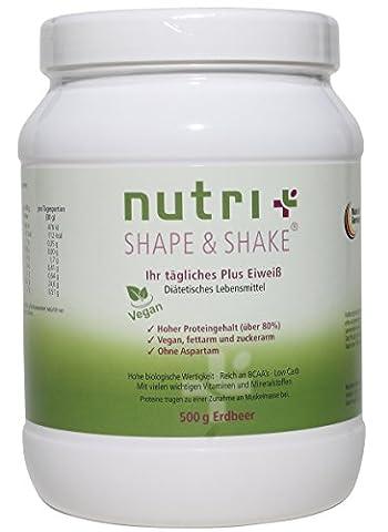 Nutri-Plus Shape & Shake Vegan Erdbeere 500g - Pflanzlicher Proteinshake