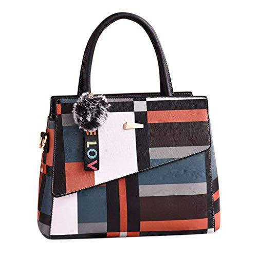LILIHOT Damen Handtaschen Leder Haar Ball Ornamente Umhängetasche Mode Wilde diagonale Tasche Frauen Multi-Color Handtasche Multifunktions Aufbewahrungstasche Wandern Wasserdichte Tasche