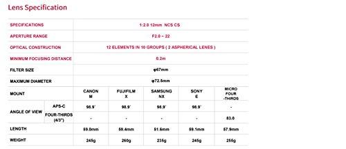 Samyang 12mm F2.0 Objektiv Sony E - 7