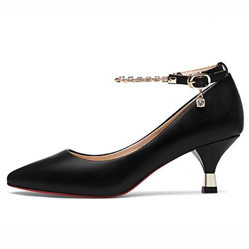 Chaussures femme HWF Les Chaussures Simples Pointues de Bouche Pointues de Ressort soulèvent Les Talons Hauts