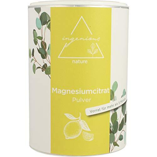 ingenious nature® Laborgeprüftes Magnesiumcitrat Pulver 500g - Magnesium-Pulver ohne Zusätze, vegan - mit Messlöffel und Zertifikat (3,98€/100g) - 500g Pulver