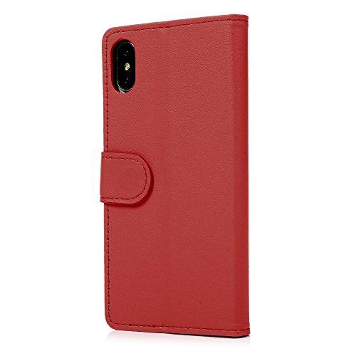 MAXFE.CO Schutzhülle Tasche Case für iPhone X PU Leder Flip Tasche Cover Einfarbig im Ständer Book Case / Kartenfach Rot Rot