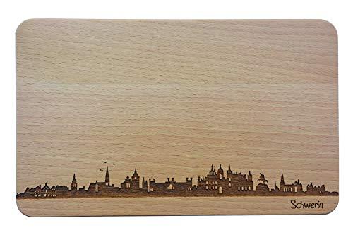 Brotzeitbrett Schwerin Skyline | Frühstücksbrettchen aus Buche | Holz Schneidbrett | Geschenk mit Gravur | Frühstücksbrett | Nordrhein-Westfalen (Standard (22x14x1cm), 1. ohne persönlicher Gravur)
