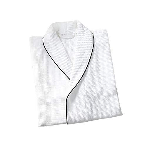 Frozen Kostüm Übergröße - Dünner Unisex-Bademantel aus Baumwolle, 100% Baumwolle, Bademantel aus Baumwollschwamm 2 Taschen, Kleid mit Gürtel und Schnalle - weicher, saugfähiger, bequemer Bademantel,weißL