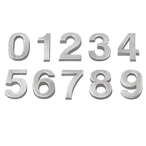 Vosarea 3D-Hausnummer 0-9 Aufkleber Türnummer Zimmernummer für Haus Hotel Tür Adresse Zeichen 5 cm 10 Stücke (Silber) (Zeichen Adresse Für Häuser)