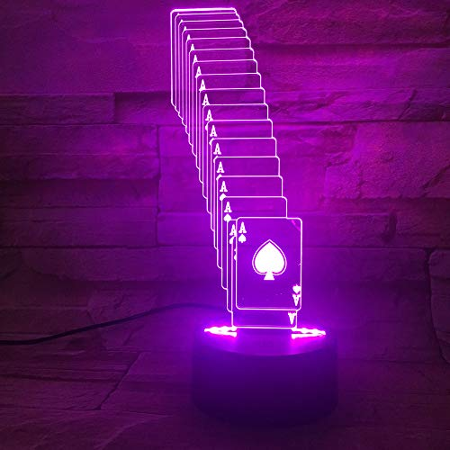 orangeww 3D Illusion Nachtlicht/Led Schreibtisch Tischlampe / 7 Farbe Touch Lampe/Geburtstagsgeschenk/Kinder Schlafzimmer Dekor/Poker