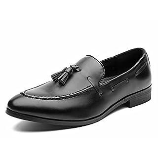 Jingkeke Men's Business Oxfords Casual Style Die britische Quaste Dekor modische Spitze Zehe Loafer Schuhe auffällig (Color : Schwarz, Größe : 40 EU)