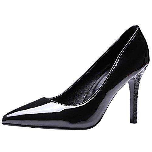 Atyche Dame Hoch Absatz Spitze Pumps mit Stiletto 9cm Absatz Klassisch Lack Büro Arbeit Schuhe