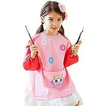 Happy Cherry Cartoon Impermeable Blusón Delantal Infantil Mandil de Mangas Largas Apron Smock para Niños Niñas DIY Pintura Dibujar Artes Manualidades 6 Colores 3 Tallas a Elegir