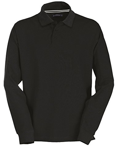 Pique Langarm Polo-shirt (Herren Langarm Polohemd Baumwoll Piquet Hockey black 4XL)