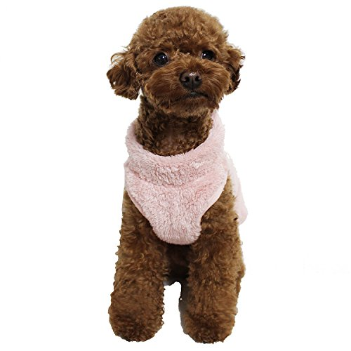 Ola Mari Pet Dog 's Super Weichem Warmem Fleece Zip up Unisex Weste Pullover für Hunde Haustiere, Small, Pink/Back Zipper -